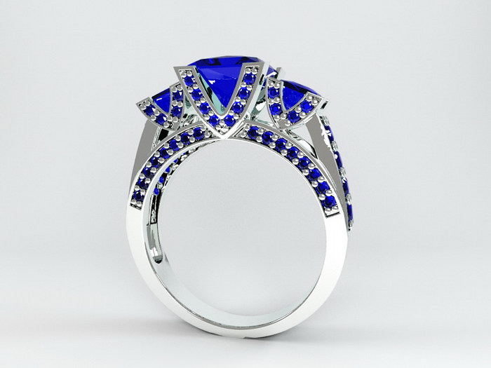 White Gold Sapphire Ring 3d rendering
