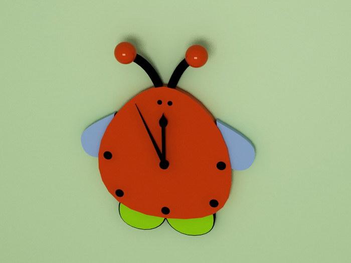 Ladybugs Beetle Wall Clock 3d rendering