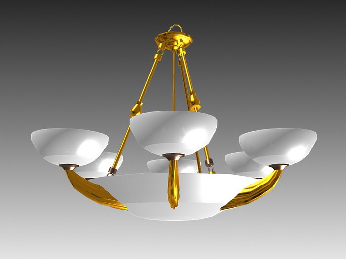 Antique Art Deco French Chandelier 3d rendering