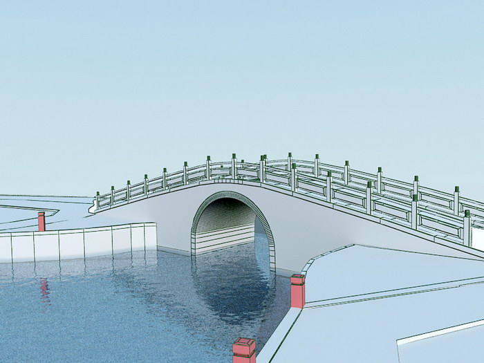 Small Bridge River 3d rendering