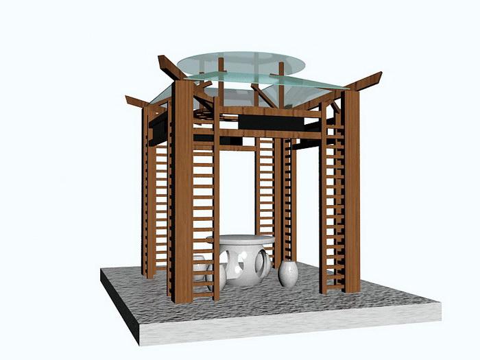 Garden Gazebo 3d rendering