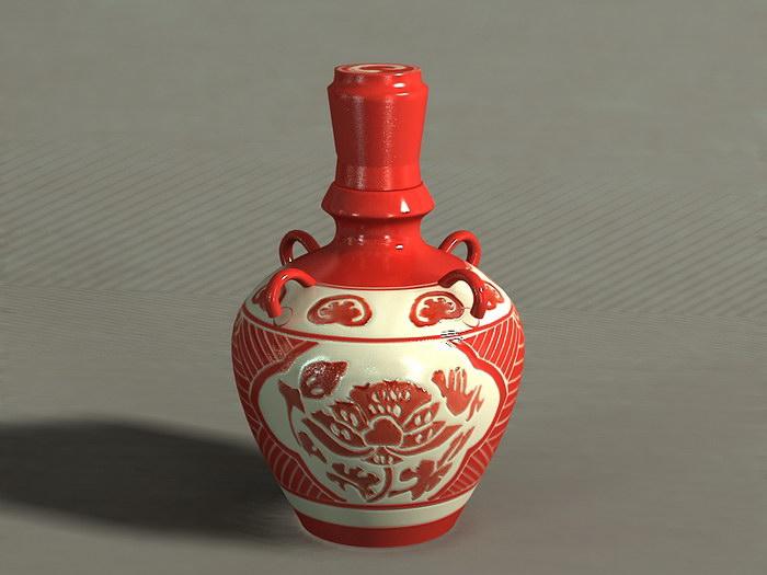 Liquor Pottery Bottle 3d rendering