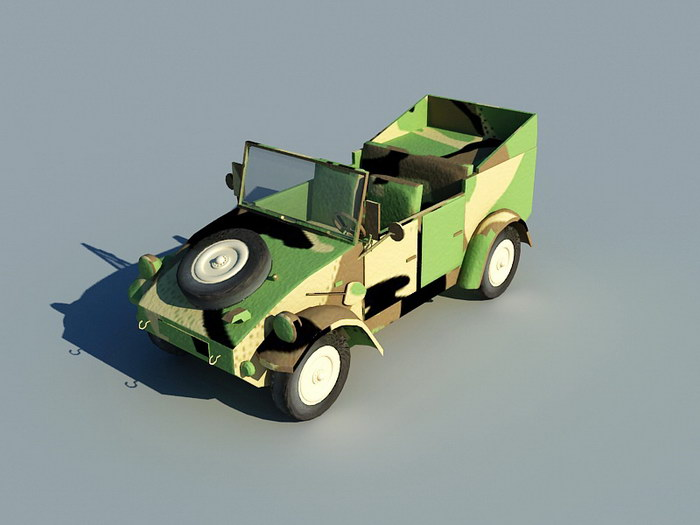 Old Army Jeep 3d rendering
