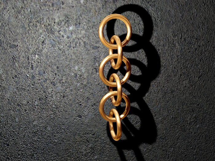 Antique Copper Chain 3d rendering