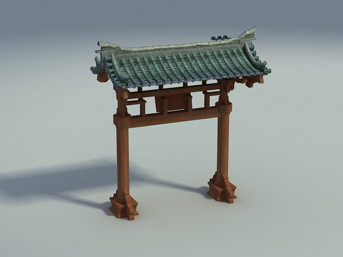 Chinese Paifang Gate 3d rendering