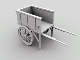 Vintage Wooden Wagon 3d preview
