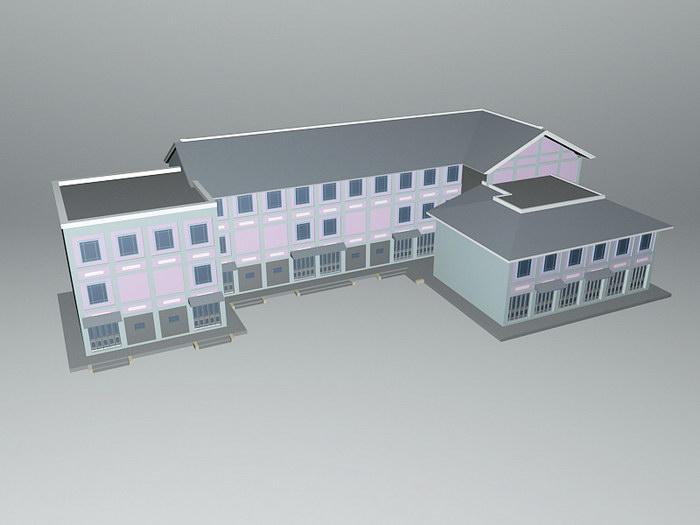 Old Buildings 3d rendering