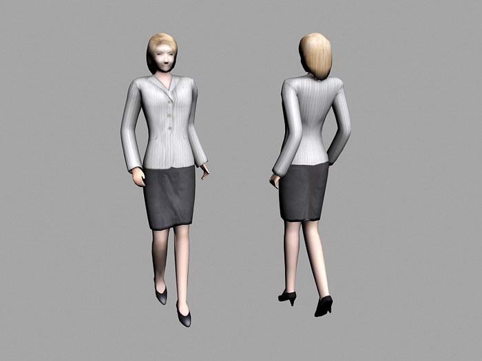 Office Lady Lowpoly 3d rendering