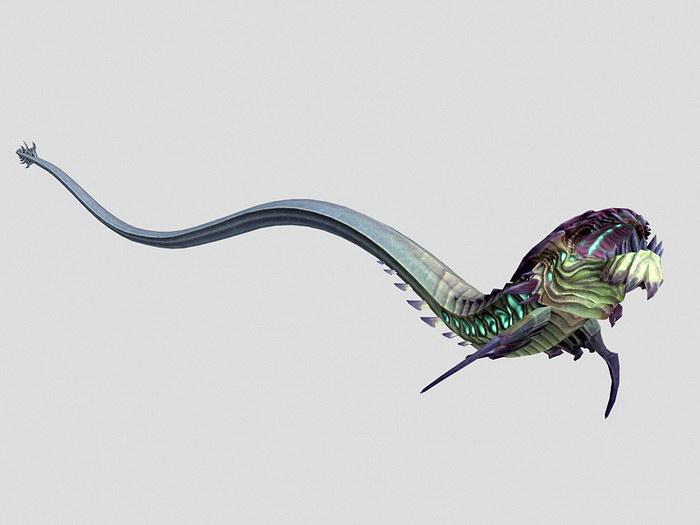 Anime Evil Dragon 3d rendering