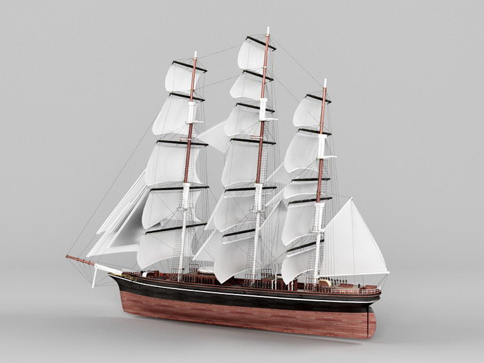 Clipper Ship Merchant Sailing Vessel 3d rendering