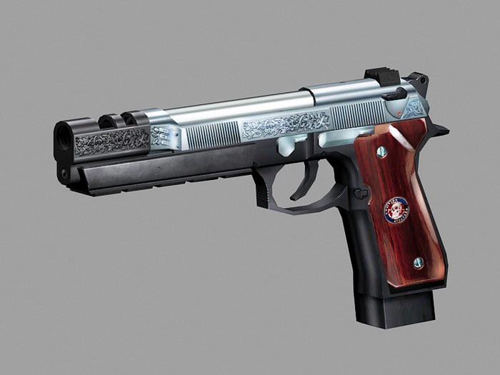 Beretta 92 Wood Grips 3d rendering