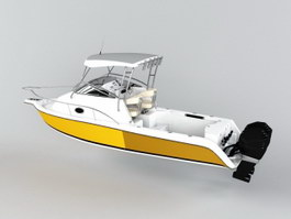 Small Cabin Motorboat 3d model preview