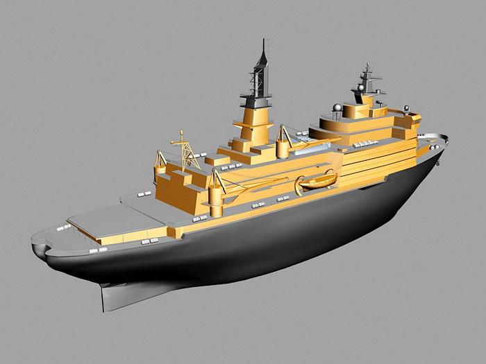 Scientific Research Vessel 3d rendering