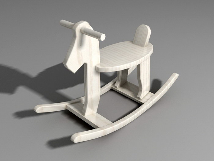 Wood Rocking Horse 3d rendering