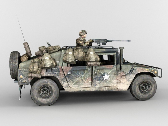 Armored HMMWV U.S. Army Infantry Soldier 3d rendering