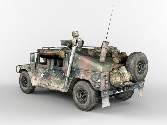Armored HMMWV U.S. Army Infantry Soldier 3d rendering