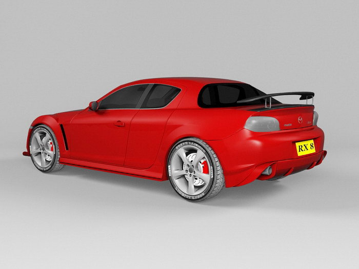 Red Mazda RX-8 3d rendering