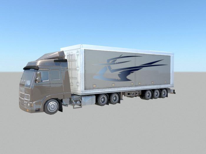 Freight Box Truck 3d rendering