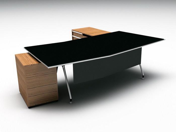 Black Office Desk 3d rendering