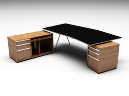 Black Office Desk 3d preview