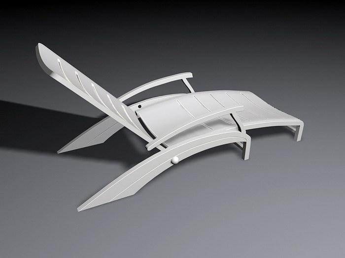 White Deckchair 3d rendering