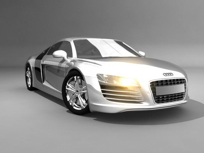 Audi R8 White 3d rendering