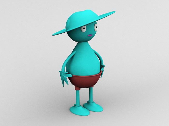 Cartoon Figurine 3d rendering