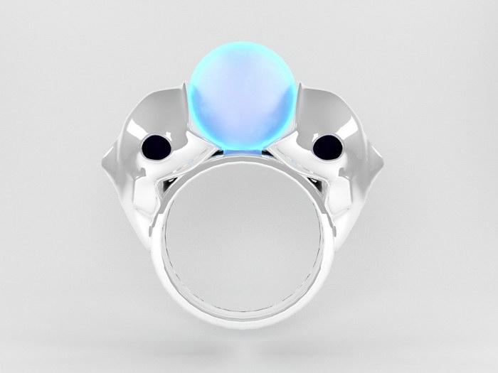 Blue Pearl Ring 3d rendering