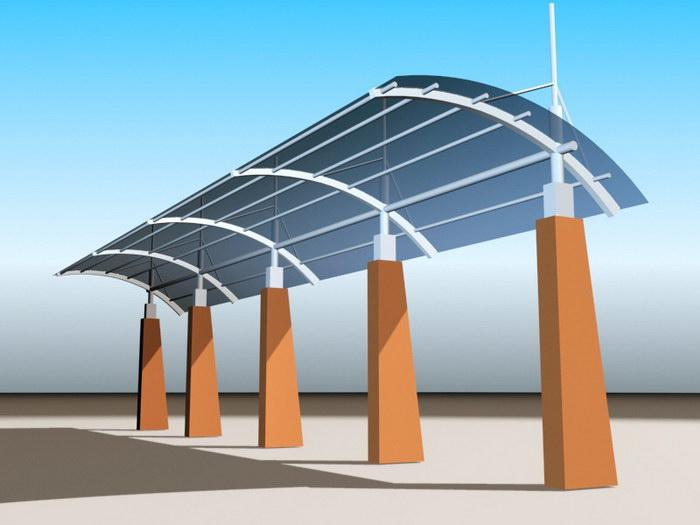 Aluminum Pergola Design 3d rendering
