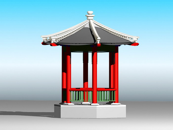 Chinese Gazebo 3d rendering