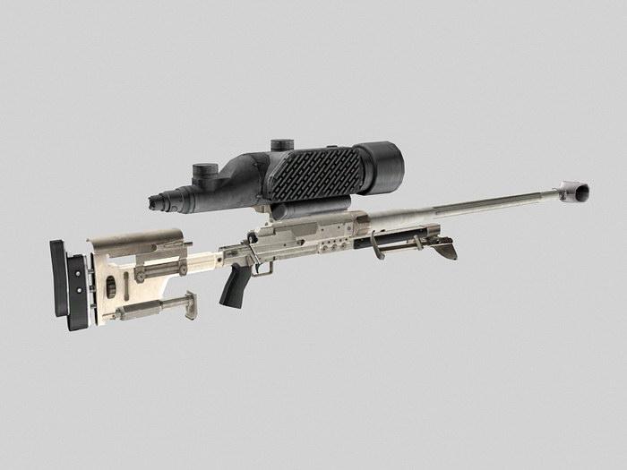 Futuristic Sniper Rifle 3d rendering