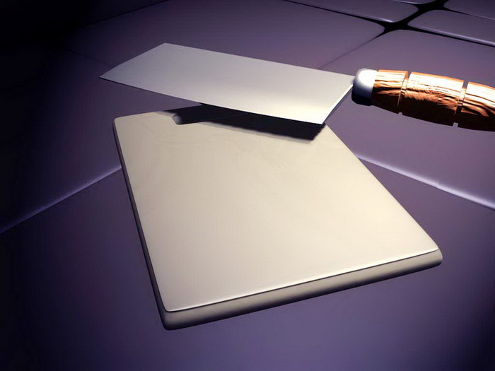 Kitchen Knife and Cutting Board 3d rendering