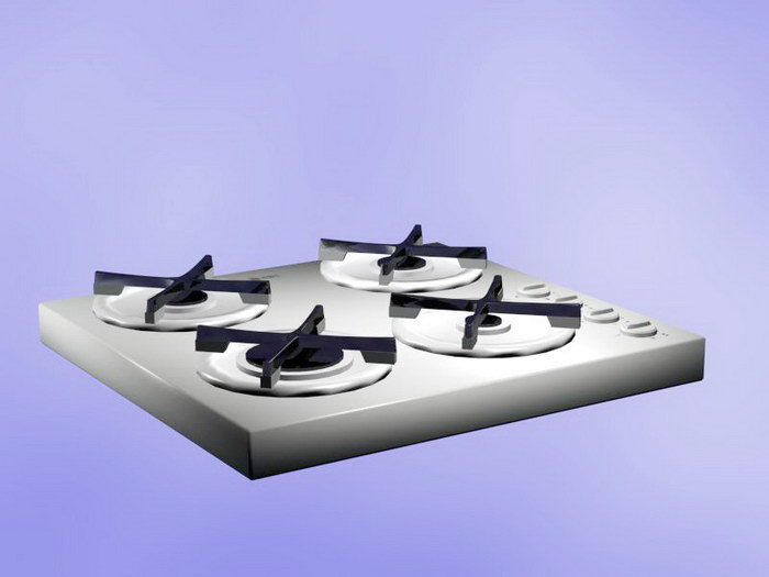4 Burner Gas Cooktop 3d rendering
