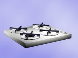 4 Burner Gas Cooktop 3d preview