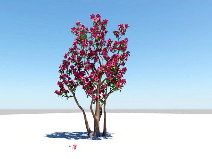 Red Azalea Plant 3d rendering