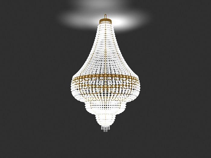 Fancy Crystal Chandelier 3d rendering