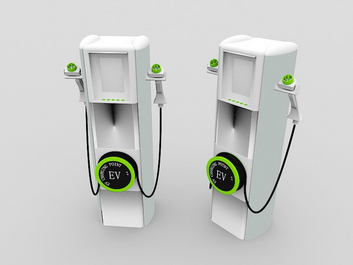 Electric Vehicle Charging Station 3d rendering