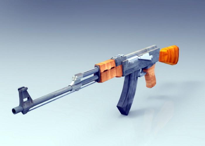 AK-47 Rifle 3d rendering