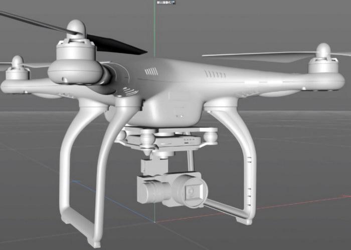 Phantom Professional Drone 3d rendering