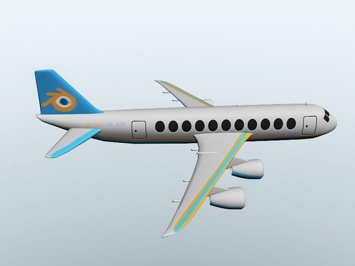Passenger Airplane 3d rendering