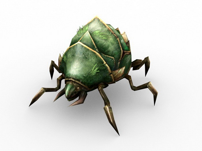 Green Beetle Creature 3d rendering