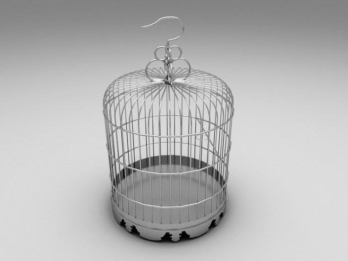 Metal Birdcage 3d rendering