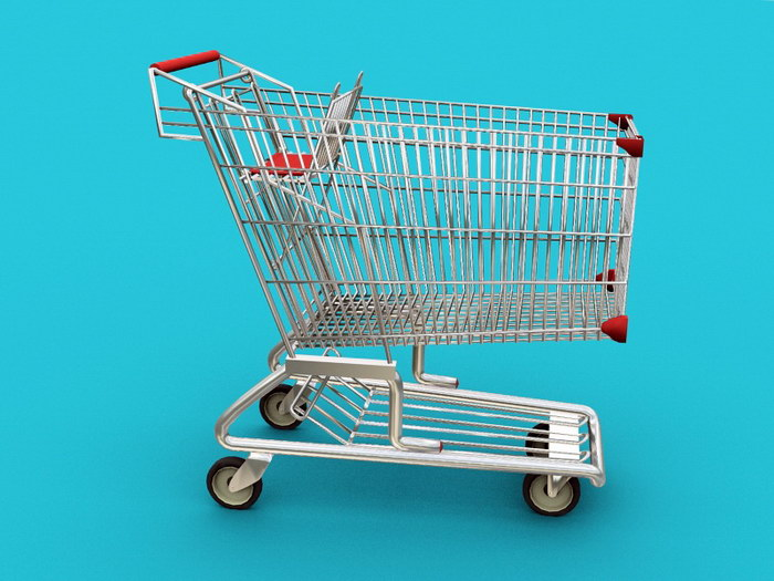 Supermarket Cart 3d rendering