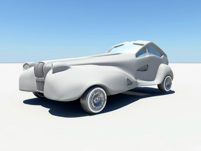 Vintage Concept Car 3d rendering