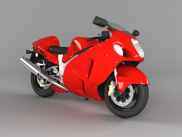 Red Ninja Motorcycle 3d rendering