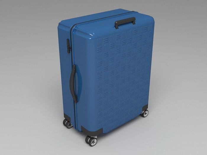 Blue Suitcase 3d rendering