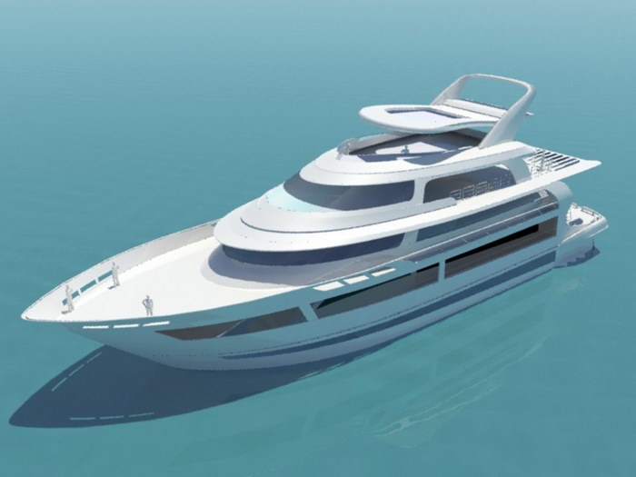 Cruiser Motor Yacht 3d rendering