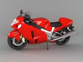Red Ninja Motorcycle 3d model preview