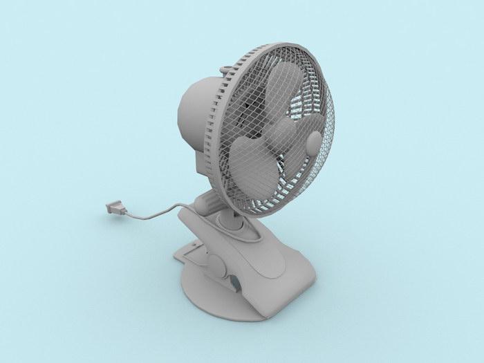 Clip Table Fan 3d rendering
