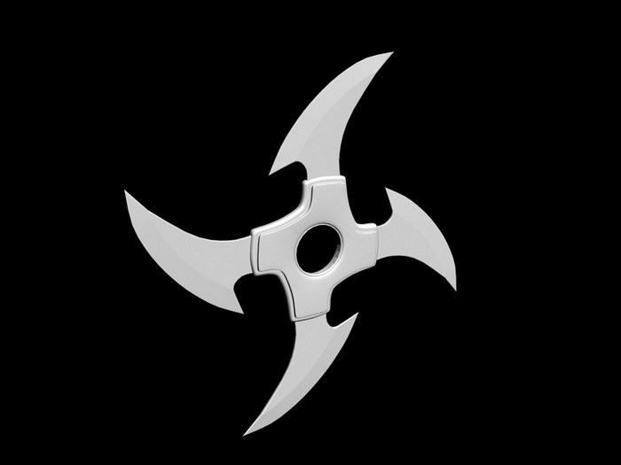 Japanese Shuriken Ninja Stars 3d rendering